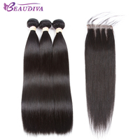 BEAUDIVA Pre Colored Human Hair Bundles With Closure Straigt Hair 3 Bundles With Closure 4 4