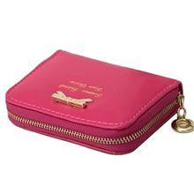 Women Coin Purse Bowtie Shape PU Leather Women Coin Purses Zip Card Holder Change Purse Mini Children Hand Wallet Coin Bag 017