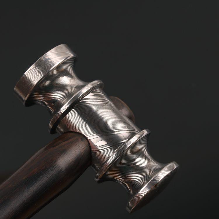 Handmade Damascus mini Hammer Ebony wood handle Leather Craft Tools Hammer