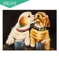Meian Full Diamond Embroidery Animal Dog 5D Diamond Painting Cross Stitch 3D Diamond Mosaic Needlework Crafts