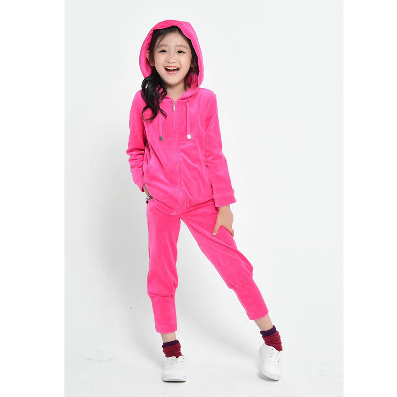 Top quality girl set blazer jacket and pants pleuche rosy clothing set casual kids outfits sheep embroidered top and pants pajama set