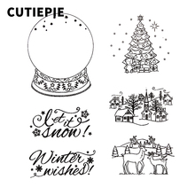 Shining Christmas Tree Winter House Transparent Clear Stamps for Scrapbooking Embossing Photo Album Decor Folder Making Sheets