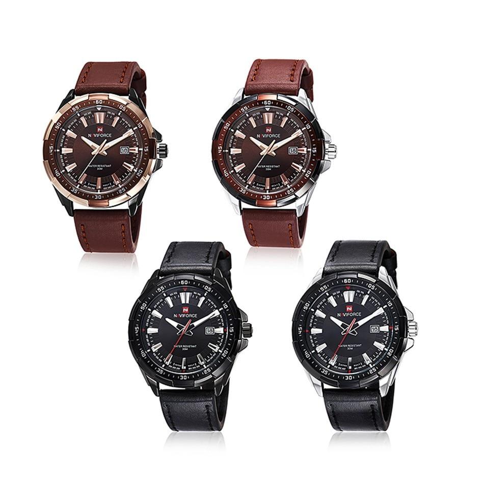 Naviforce Men Quartz Watch with Leather Strap