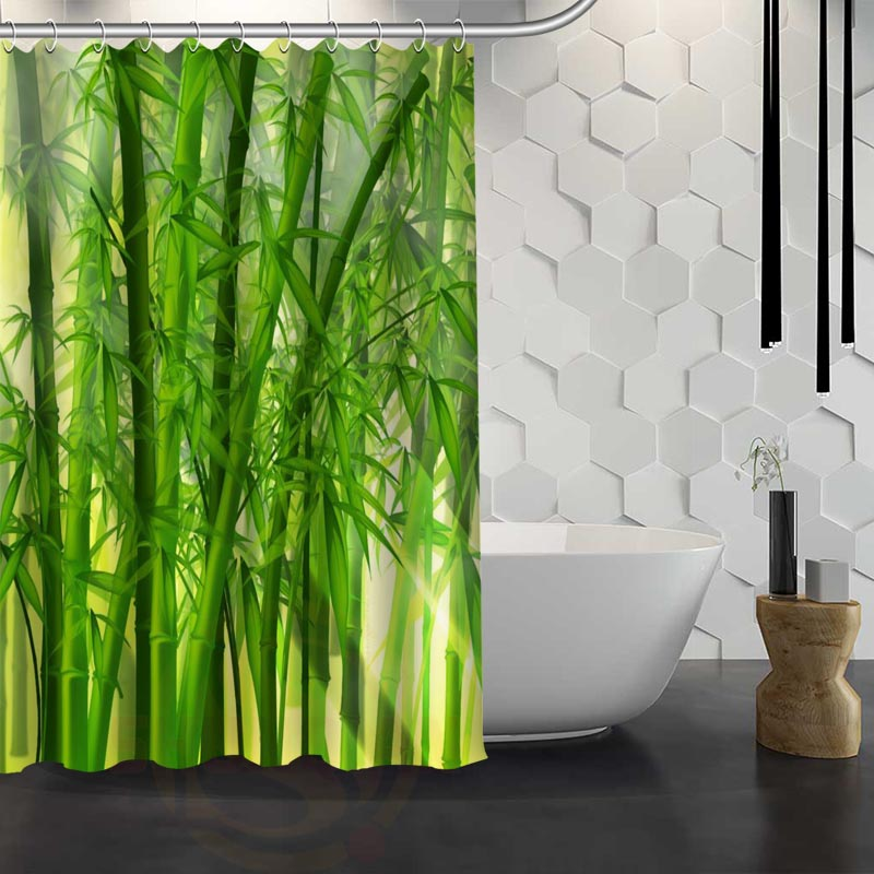 Custom bamboo Shower Curtain With Hooks Fabric Shower Curtain for ...