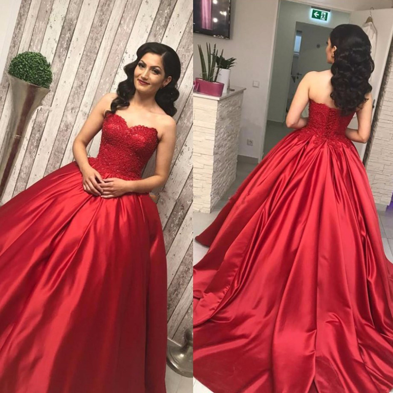 Red Ball Gown Dresses: U SWEAR 2019 Red Lace Satin Sweetheart Strapless