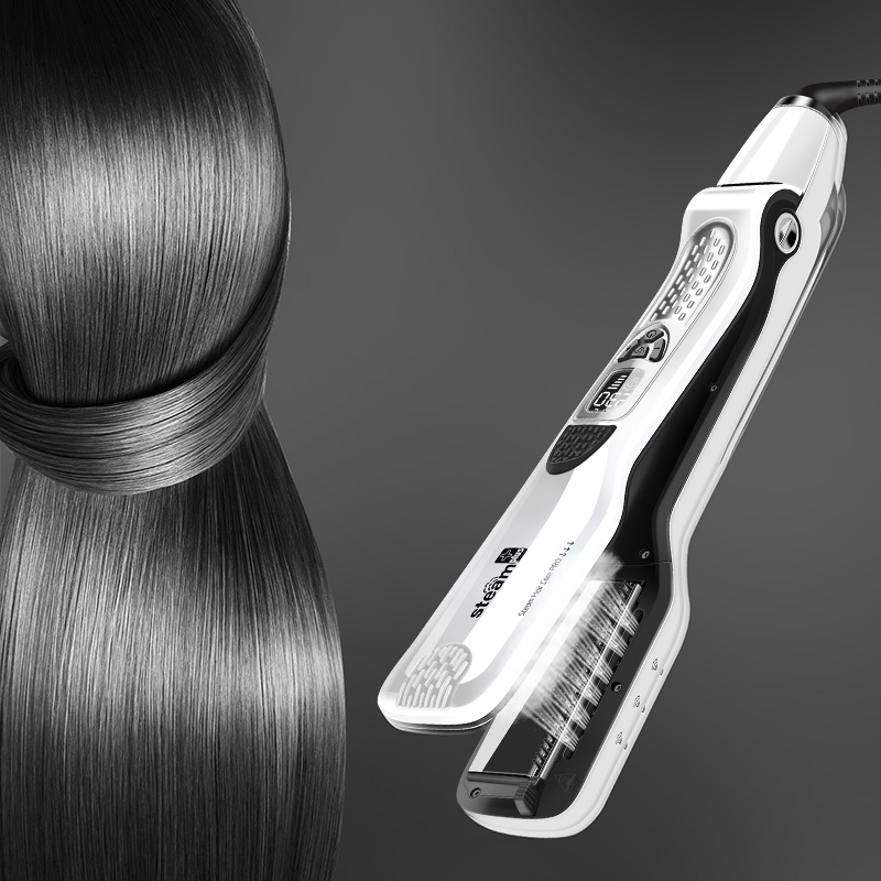 Steam Comb Straightening Irons LCD Display Hair Brush Electric Steam Flat Iron Ceramic Hair Straightener Tools Hair Styling led display floating spray steam hair straightener hair flat iron curler curling irons ceramic straightening plate styling tools