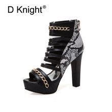 Sexy Super high-heeled Nightclub Shoes Thick Heel Platform Peep Toe Women Sandals Back Zip Metal Chain Lady Sandals Plus SIze 48 size 33 43 summer women sandals zip cover heel platform square high heeled sexy cross tied peep toe pumps shoes free shipping