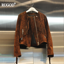 RUGOD Women New Streetwear Handsome Haulage Motor Tassel Jacket 2017 Autumn Winter Fashion Patchwork Slim Female Short Jackets