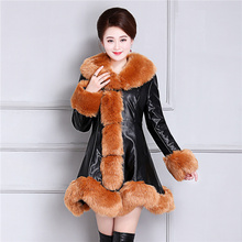 b Winter fur one woman long section pu leather jacket female thick down cotton padded coat warm parkas