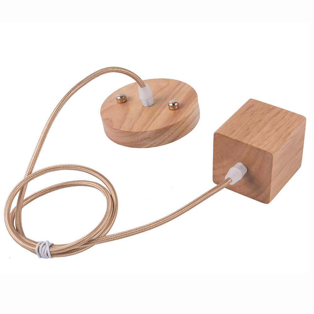 2018 Hot Selling Wood Square Led Lamp Base E27 Lamp Holder Vintage Retro Pendant Bulb Light Screw E27 Socket