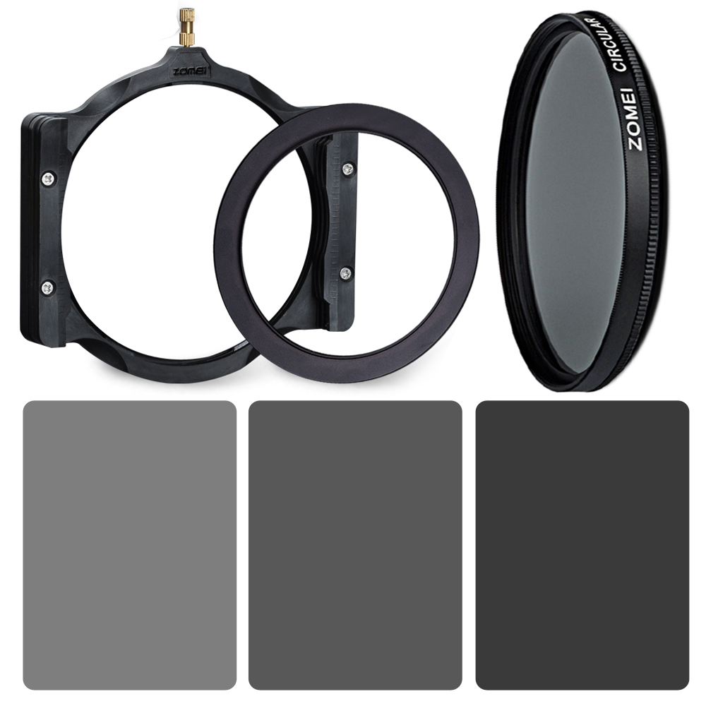 ZOMEI Square Graduated Gray Gradient Neutral Density Filter 100mm ND2+ND4+ND8 Filter+( )mm Ring+Holder+CPL Kiit For Cokin Z zomei 100mm nd64 square filter hd optical glass 100x100mm 6 stop neutral density nd filter for cokin z lee hitech 100mm holder