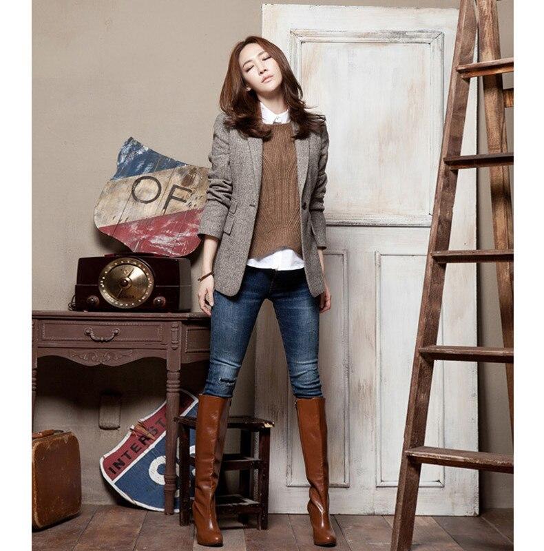 Korean Fashion Woman Spring Autumn Outwear Vintage Casual Slim Female Blazers Jackets 50% Wool Long Sleeve Blazers Working Wear