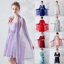 Длинная шифоновая Свадебная шаль, Свадебный жакет, женское свадебное болеро, накидка на плечо с кружевными кристаллами, накидка для платья