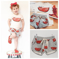 2015 new summer style for baby girls Watermelon sport suit t-shirt+ shorts