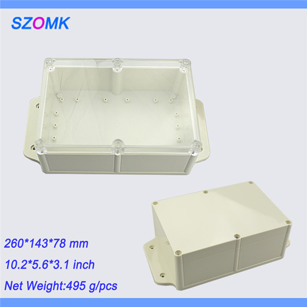 1 piece, transparent cover waterproof enclosure device box for PCB 260*143*78mm10.2*5.6*3.1inch  plastic abs enclosure
