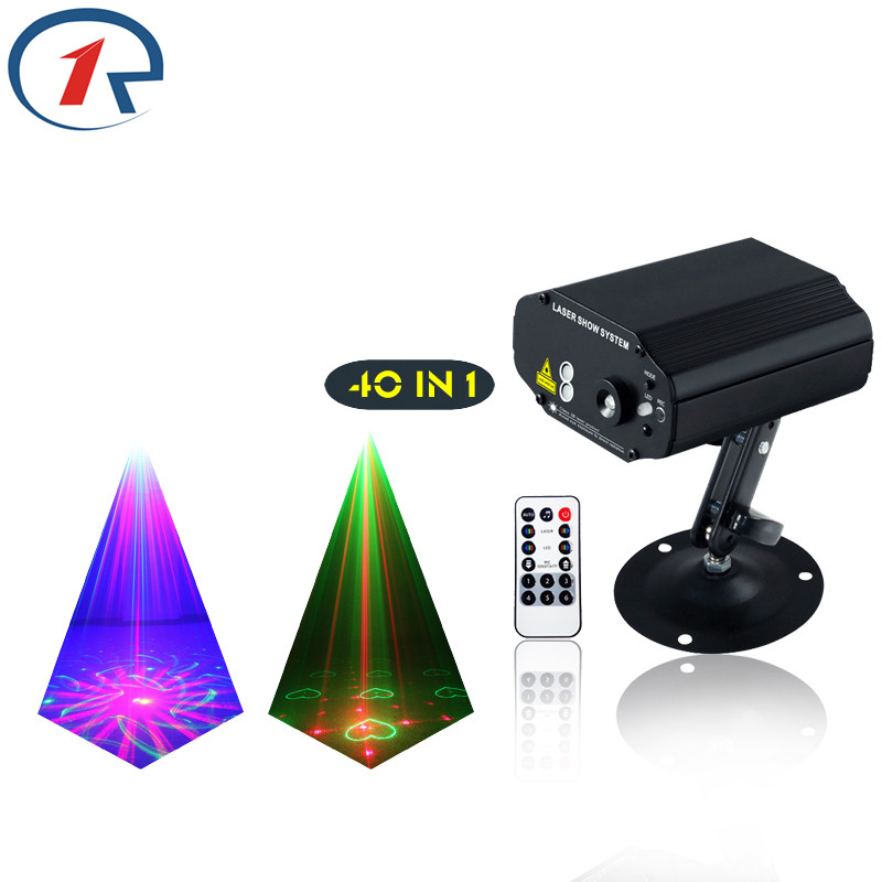 ZjRight 40 Patterns IR Remote Red Green Laser Lights Mix Blue effect LED Stage Light colorful projection disco bar ktv dj light rg mini 3 lens 24 patterns led laser projector stage lighting effect 3w blue for dj disco party club laser