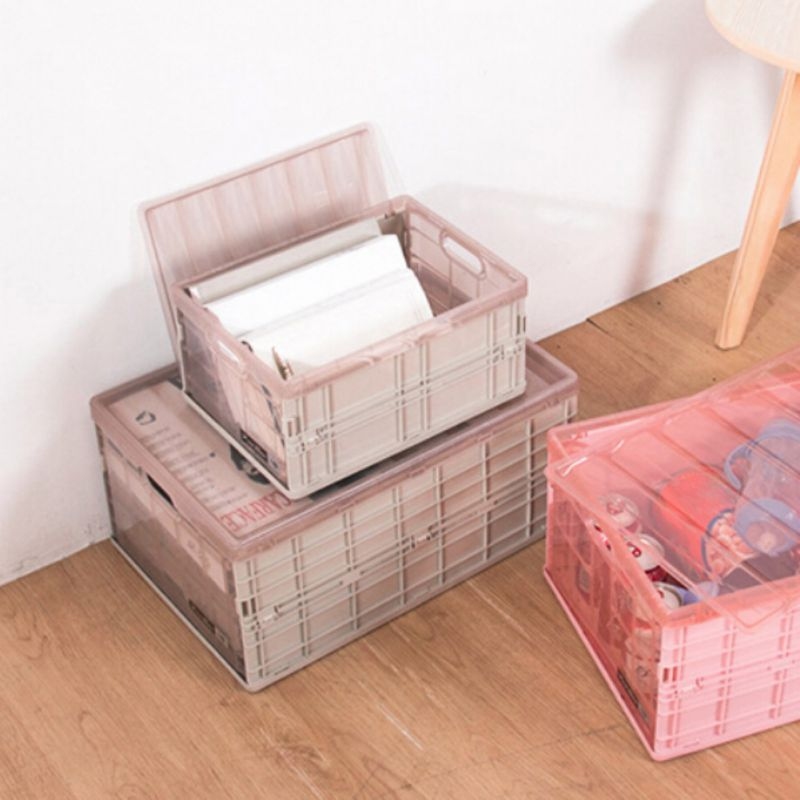 1PC Solid Folding Clothing Storage Box Case with Lid Waterproof Thick Collapsible Organizer Box for Blanket Clothes Books New in Storage Boxes Bins from Home Garden