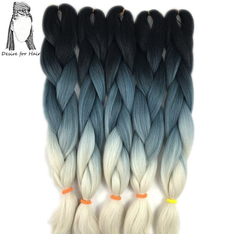 Touha po vlasy 10 ks na lot 24inch 100g teplo odolný syntetický ombre box pletení vlasů černá modrá blondýna 3 tónové barvy