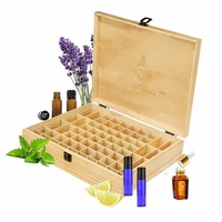 Nosii 68 Slots Natural Wood Essential Oil Aroma Fragrance Organizer Portable Storage Case Box Display