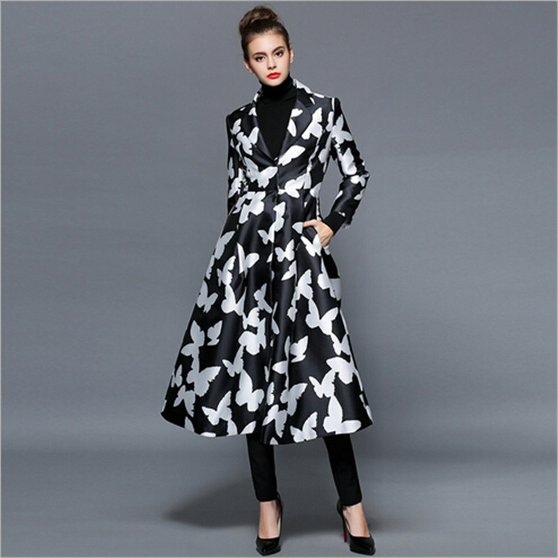 Original black white Butterfly printing Lady Outerwear Spring font b women s b font Trench font