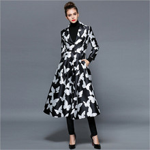 Original black white Butterfly printing Lady Outerwear Spring women s Trench Coat Long Sleeve Covered Button