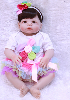 """Full silicone reborn baby dolls 22"""" 55cm girl bebe alive reborn bonecas can enter water with clothing magnetic bear pacifier"""