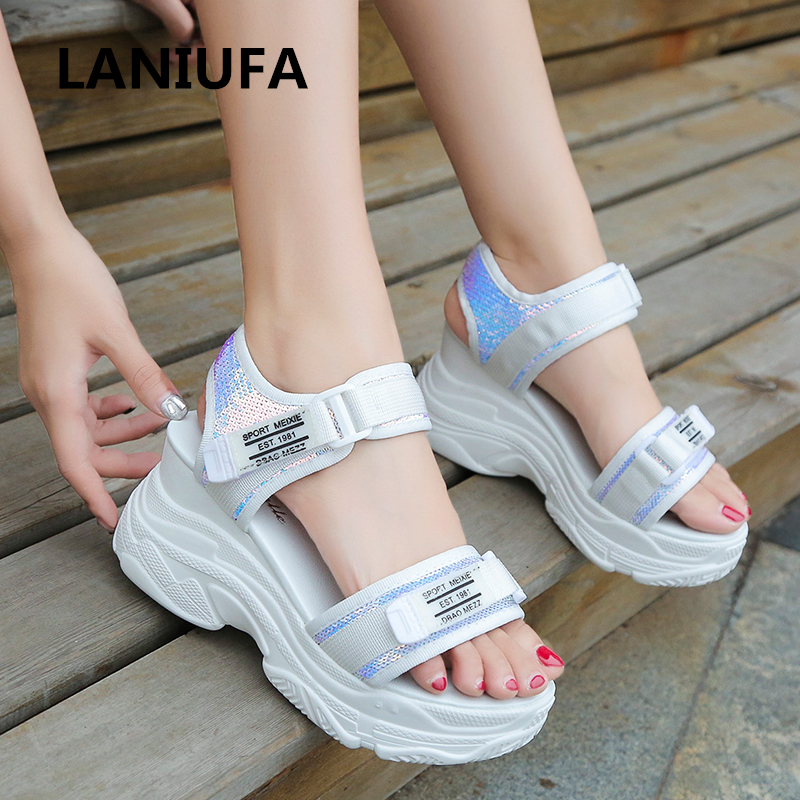 Women Sandal Shoes Women Platforms Non-slip Casual Gladiator Rome Walking Wedges High Heels Sandals Women Flip Flops Shoes #645