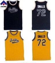Notorious Big. Biggie Smalls #72 Bad Boy Баскетбол Джерси сшитые черного, желтого цвета красный