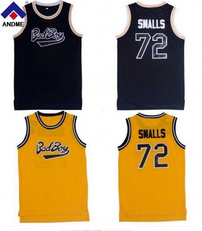 Notorious B.I.G. Biggie Smalls #72 Bad Boy baloncesto Jersey cosido negro amarillo rojo