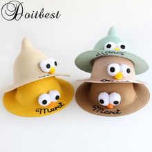 2018 Korea Spring kids Beach Hats summer 100% Handmade Funny two big eyes Children straw hat boys girls tourism hot sun hat