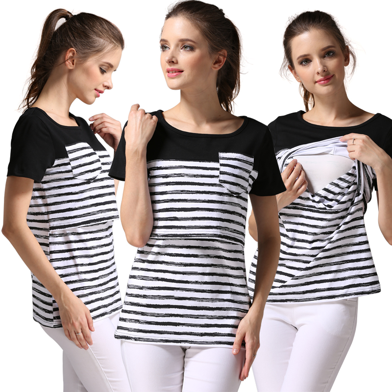 Emotion Moms Short Sleeve Maternity Clothing Breastfeeding Nursing Tops Clothes for Pregnant Women Plus Size nursing shirts in Tees from Mother Kids