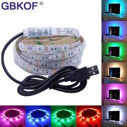 شريط ليد مزود بيو إس بي 5050 3528 RGB التلفزيون إضاءة خلفية عدة كوتابل مع 17Key RF تحكم أو البسيطة 3Key تحكم ، 50 سنتيمتر/1 متر/2 متر مجموعة