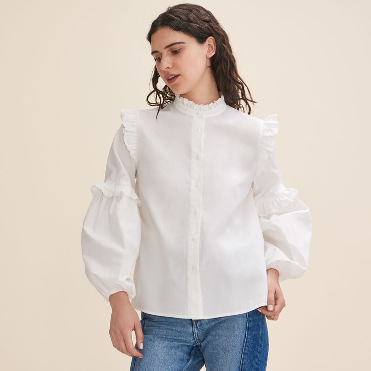 2018 fall and winter Princess style lantern sleeve fungus collar lace embroidery 100% cotton white blouse