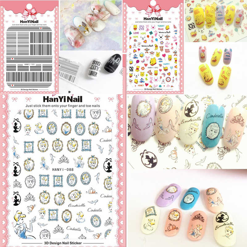 DIY Cute Famous Cartoon Brand Logo 3D Nail Sticker For Nail Self-adhesive DIY Sticker Decals Tips Manicure Nail Art Decals