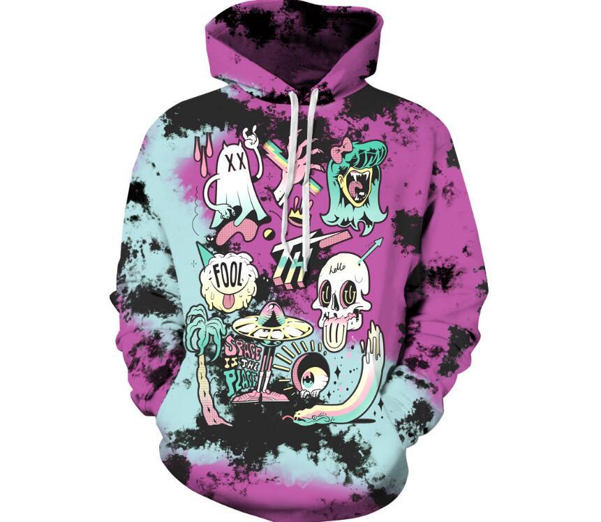 2018 New Men/Women 3d Sweatshirts Print Halloween ghost Hoodies with hat Autumn Winter Thin Hooded Pullovers Tops Unisex Hoody