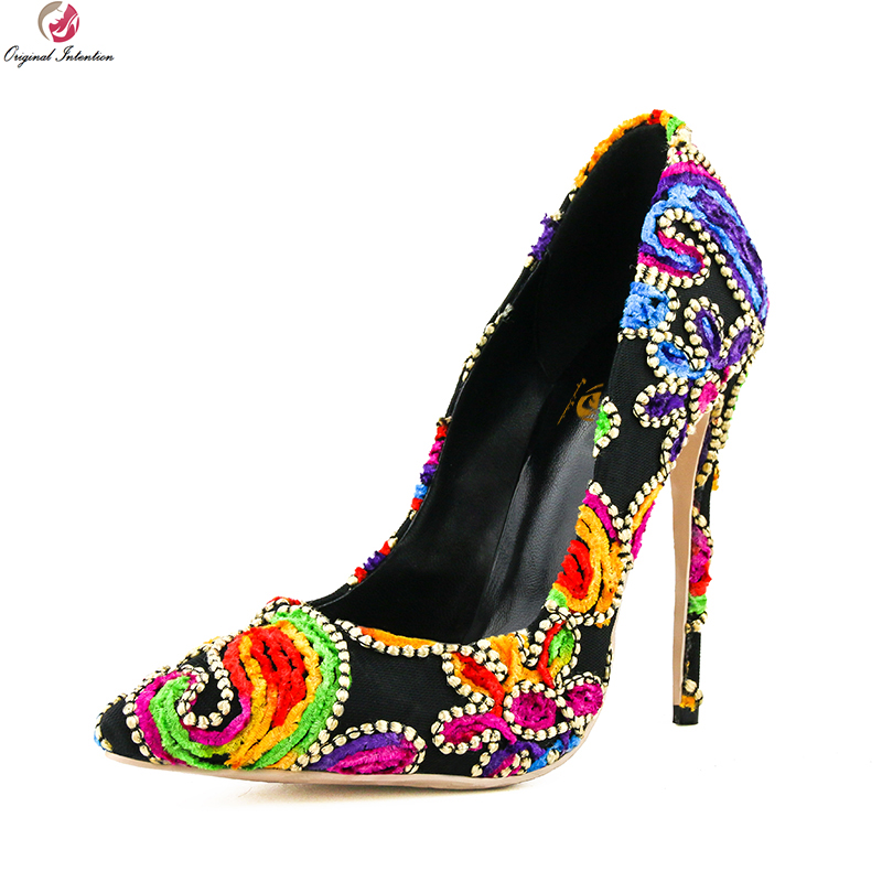 Original Intention Women Pumps Stylish Pointed Toe Thin High Heels Pumps Multi Colors Shoes Woman Plus