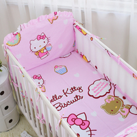 6pcs Cute Cotton crib bumper baby girl Baby bedding Cot Set bumpers Rail Sets Soft Comfortable Cute Cartoon Printed Crib Sets