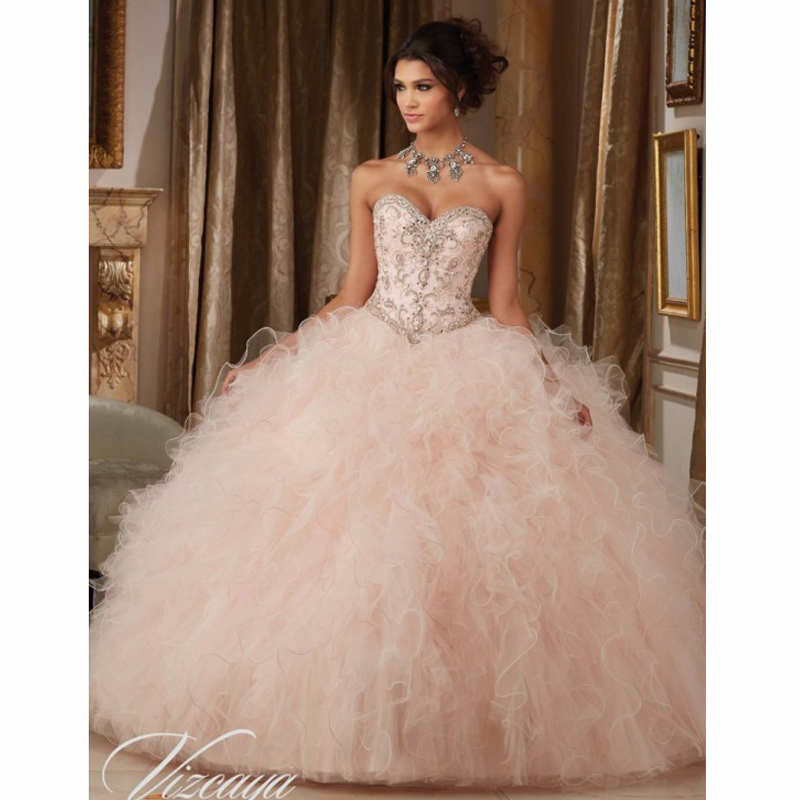 Blush Puffy Cheap Quinceanera Dresses 2019 Ball Gown Sweetheart Organza Ruffles Beaded Crystals Sweet 16 Dresses