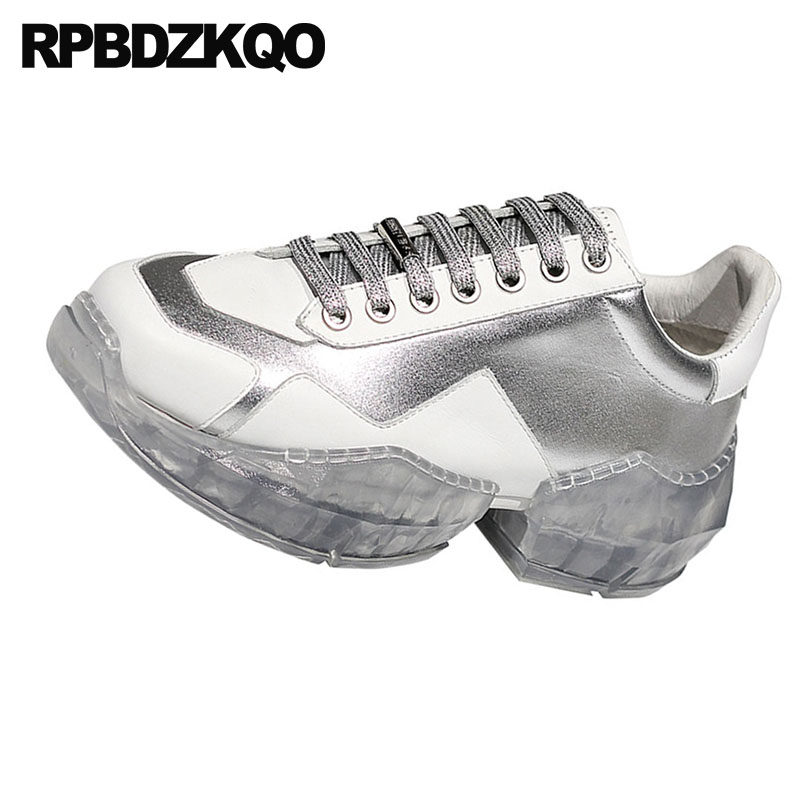 Ascensor Mujeres 2018 Enredaderas Real De Oro Gruesa Cuadrado Las Lujo Del plata blanco Zapatos Genuino Calidad Dedo Cuero Suela Alta Pie Diseñador Transparente Plata Ua0wn