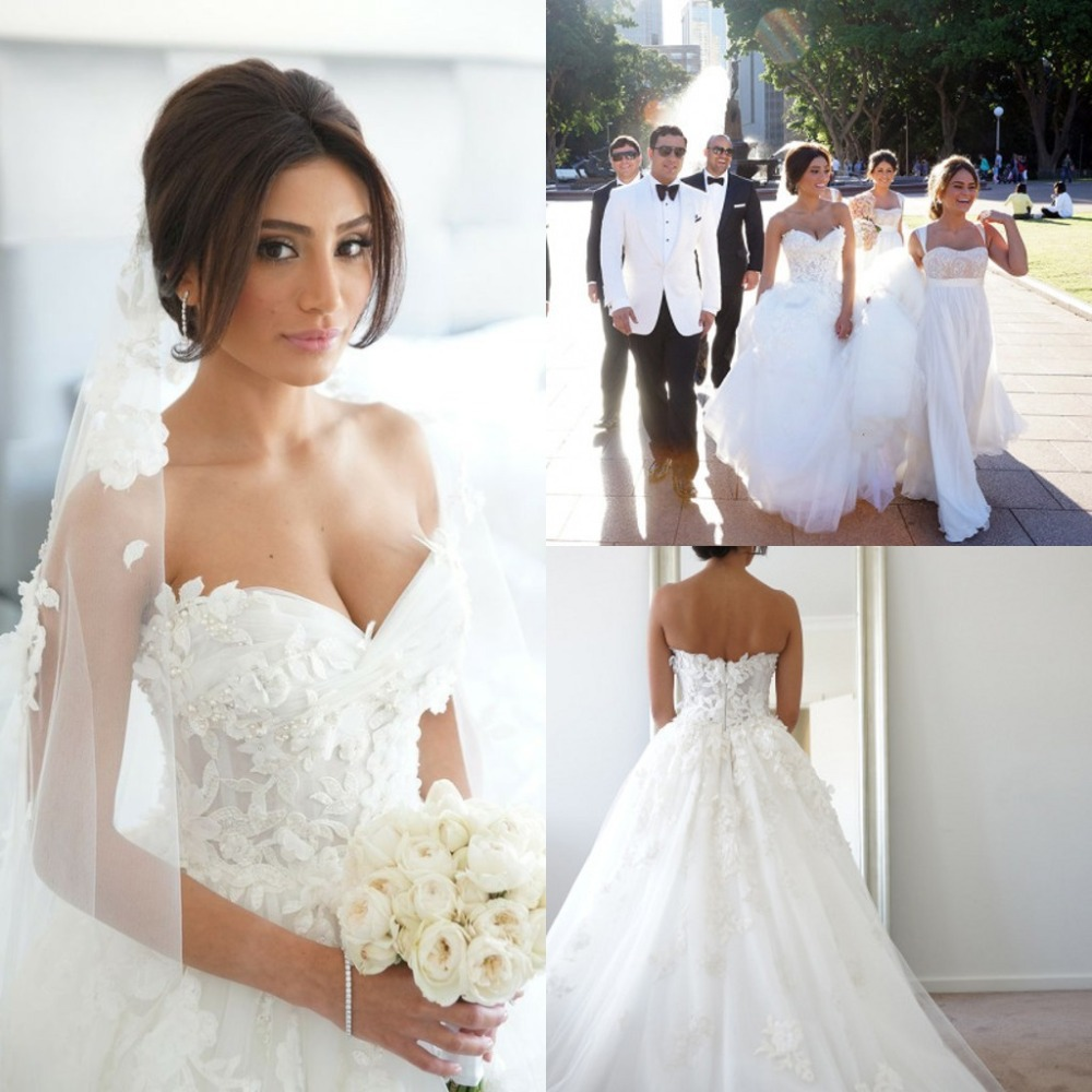 Ball Gown White Celebrity Wedding Dresses Pearls Sweetheart Garden ...