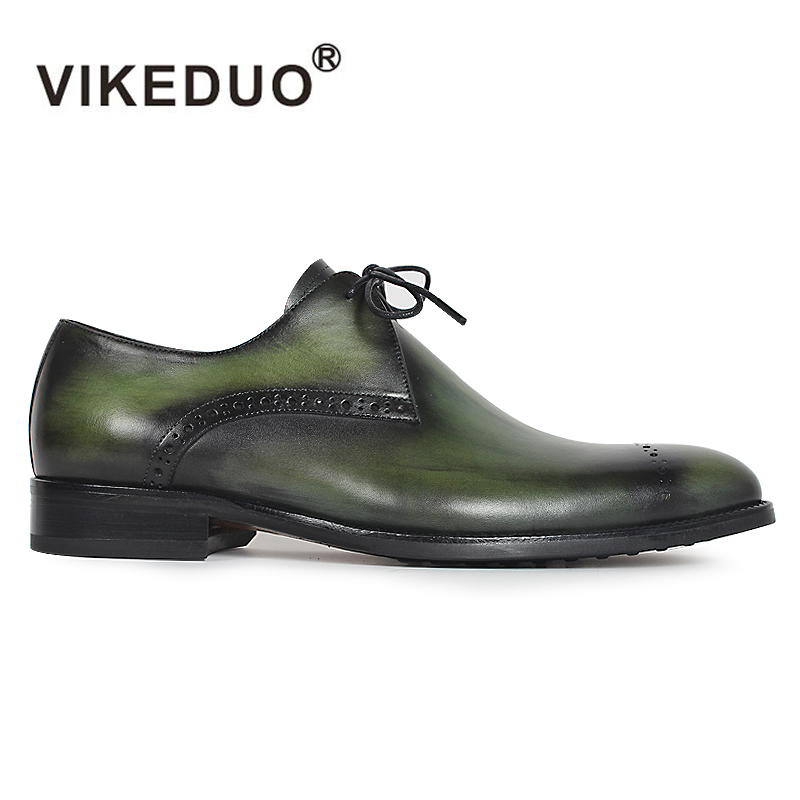 VIKEDUO Hot Luxury Vintga Handmade Genuine Leather Wedding Party Office Male Dress Shoe Lace-up Original Design Men Derby Shoes 2017 vintage retro custom men flat hot sale real mens oxford shoes dress wedding party genuine leather shoes original design