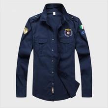 ФОТО 2018 men aeronautica militare air force one shirt men long sleeve casual embroidery logo patch plane pilot shirt m-3xl