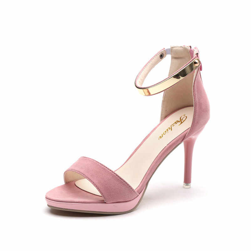 dec755629 Bling Pink Fashion Women Summer Sandals High Heels Cool Thin Heels Female  Summer Sandals Office OL