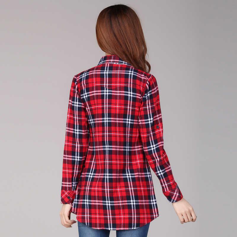 bc79818e091b53 ... cotton Checkered plaid blouses shirt Cage female long sleeve casual  slim women plus size shirt office ...