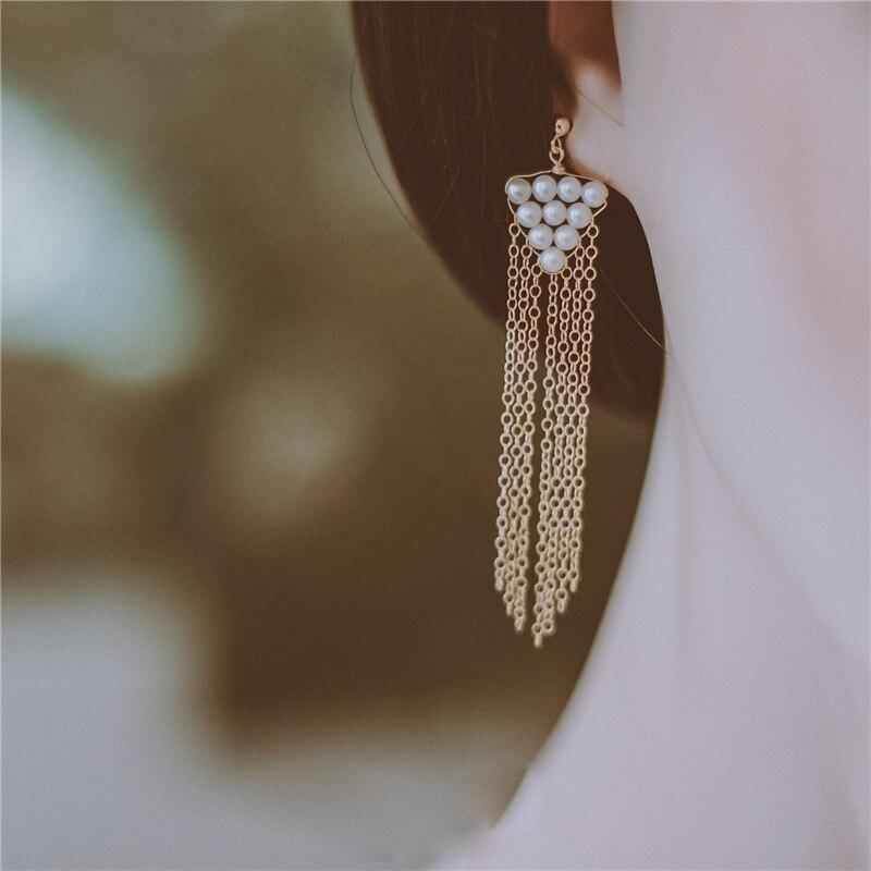 Fait à la main perle gland boucles d'oreilles or rempli Vintage charme bijoux minimaliste fête cadeau Pendientes boucles d'oreilles pour les femmes Oorbellen