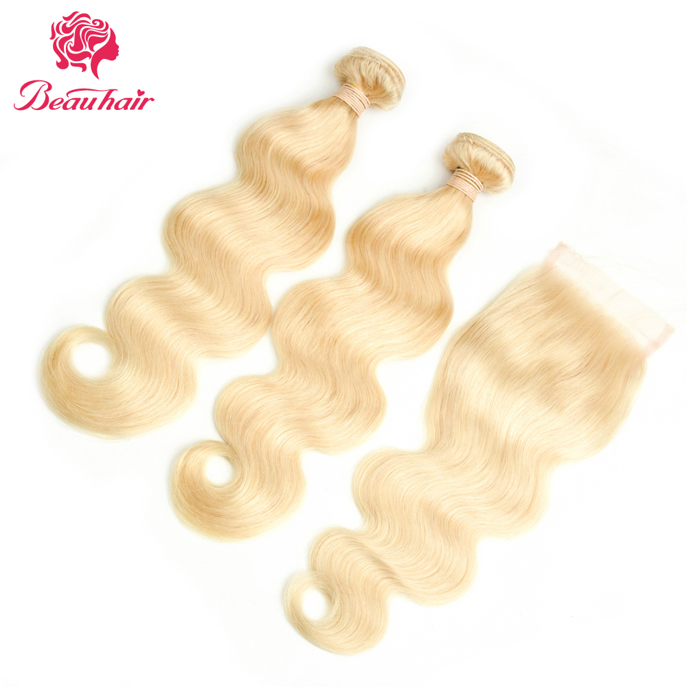 Beau волос не Реми Человеческие волосы 2 Связки с Синтетическое закрытие волос 613 Блондин Средства ухода за кожей волна бразильский Инструмен...