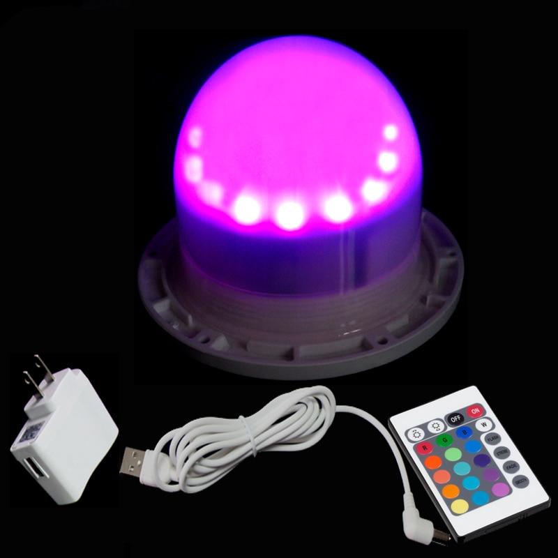 120 mm přímé nabíjení 12RGB + 12White LED světelný zdroj vodotěsný dálkový ovladač záře v temném světle pro koule kostky 10ks / lot