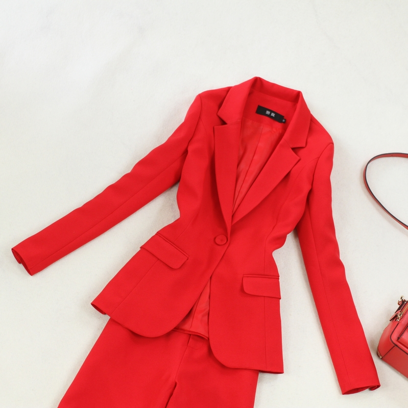 Red Women Spring Suits Adapt To Business Women Suit Business Suits Formal Female Work Wear Summer 2 Pieces Female Suits