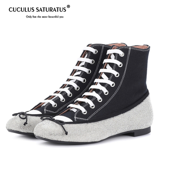 Cuculus Canvas Women Flats Shoes Brand Spring Single Black Woman Sneakers Rhinestone Lace Up Female Casual Ankle Shoes Plus Size