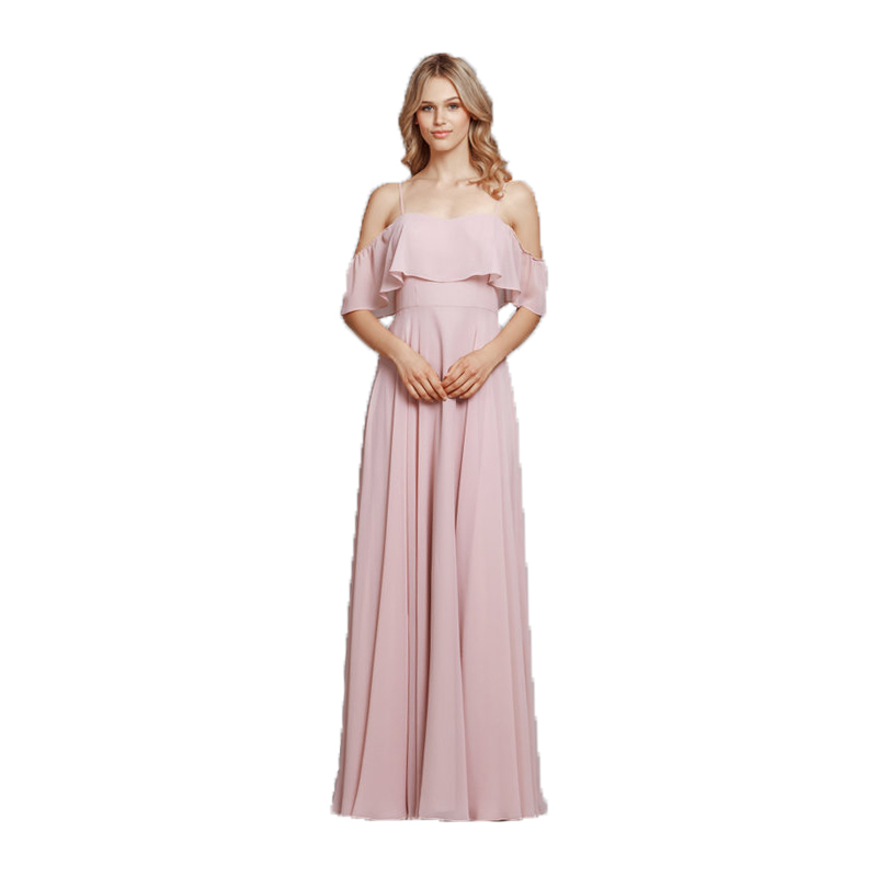 Blush Pink Bridesmaid Dresses Long Spaghetti Straps Chiffon Dress Women Guest Beach Wedding Party Elegant Maid Of Honor Dress
